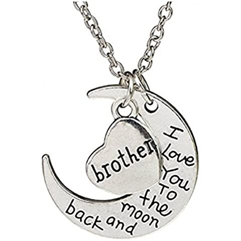 COLLAR CON COLGANTE DOBLE CORAZÓN CON DISEÑO DE LUNA Y EN AMBOS LADOS, I LOVE YOU TO THE MOON AND BACK BROTHER COLOR PLATA REGALO FIESTA HERMANO HERMANA HOMBRES, MUJERES CORTAVIENTOS PARA MUJER