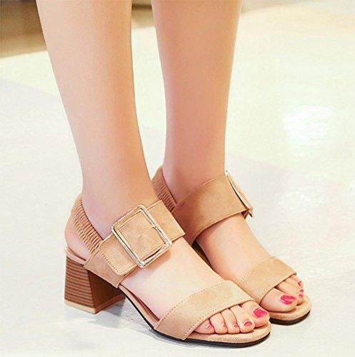 Sommer-Mode Metallgürtelschnalle in offenen Sandalen mit dicker Ferse Sandalen apricot