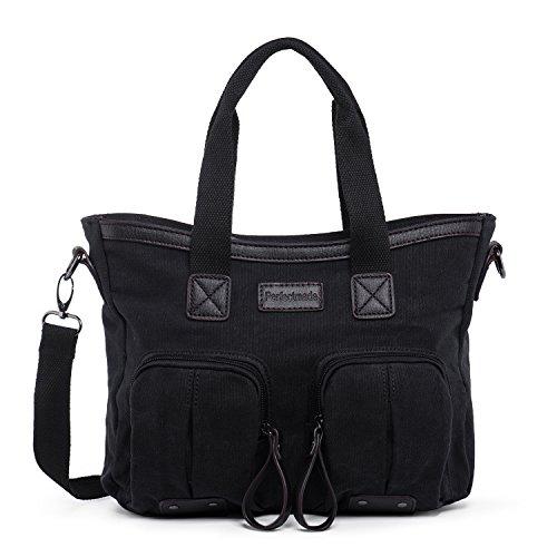 Hengwin Stoff Damen Schultertasche Shopper Taschen Canvas Handtasche für Schule Schwarz Frauen Umhängetasche Henkeltasche, Schwarz (Sie Vordere Mini Öffnen Die)