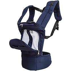 TOAOB Bleu foncé Porte Bébé ergonomique et physiologiques Multipositions Echarpe de Portage Ventral Dorsal Transporteur Sac pour 3-30 mois