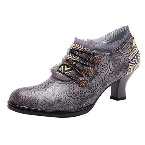 DOLDOA handgemachte Stiefeletten Dame,Frauen Sticken handgemachte Spleißen Muster spanischen Stil Stiefeletten Tanzschuhe