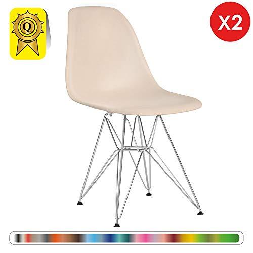 Decopresto Lot 2 x Chaise Design Scandinave Retro Haut: 48 Creme Pieds Acier INOX Chrome DP-DSR48-CR-2P