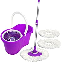 360 Spin Round Mop, Steel Center with a Bucket, Green, 2018-027-3