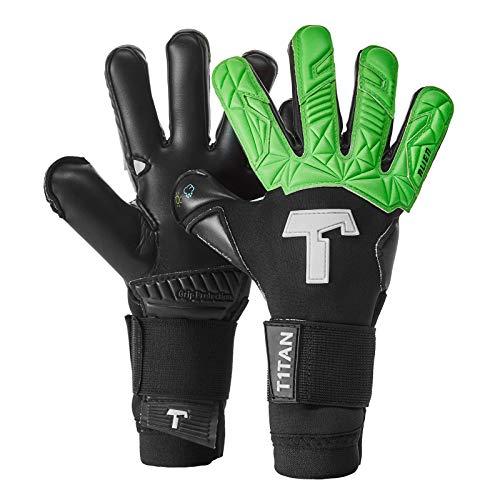 T1TAN Alien Black & Green Junior Kinder Torwarthandschuhe + Soft Grip, Fußballhandschuhe Junior mit Innennaht für den Profi der Zukunft Gr. 6