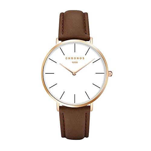 CHRONSO Herren Analog Quarzwerk Uhr mit Lederband Mode Einfache Braune Uhren