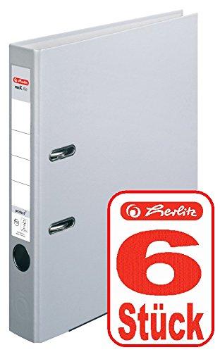 Herlitz Ordner maX.file protect A4 5cm, PP-Folienbezug beschichtet, mit Wechselfenster (grau | 6er)