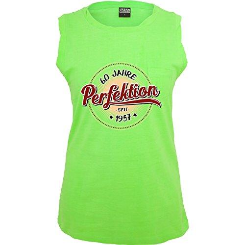 Geburtstag - 60 Jahre Perfektion seit 1957 - ärmelloses Damen T-Shirt mit Brusttasche Neon Grün