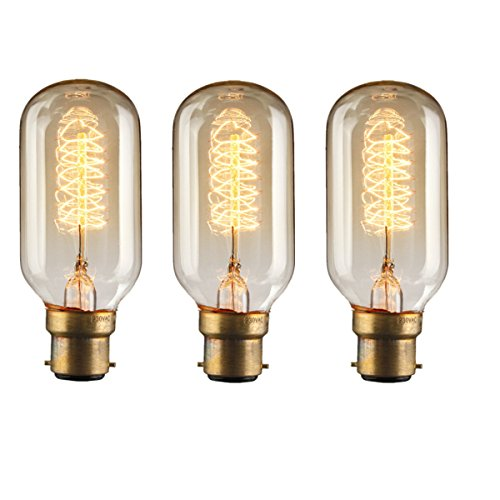 Price comparison product image KINGSO 3 Pack 30W B22 T45 24Anchors Squirrel Cage Vintage Edison Radio Valve Tubular Light Bulb Warm White 2700K 150lm 220V