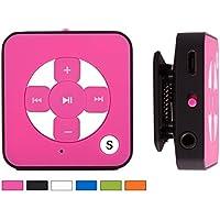 BERTRONIC ® Lettore MP3 Everest Royal - colore rosa - Mini Music MP3 Player con funzione cintura-fermaglio, slot micro SD per schede fino a 32 GB, senza memoria interna - Durata della batteria ricaricabile fino a 15 ore - robusta cassa metallica