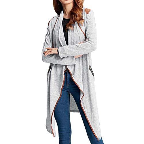 iHENGH Damen Kardigan Top,Ladies Fashion Gestrickte LäSsige LangäRmel Strickjacke Cardigan Jacke Plus GrößE Outwear Coat Tops (EU-34/CN-S,Grau)