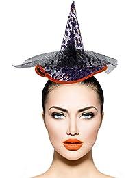 Lux Accessories fascia nera Cheetah stampa nero cappello da strega costume  di Halloween 991d6ed226d9
