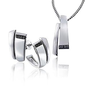 Goldmaid Damen-Brillanten Schmuckset Halskette + Ohrringe 925 Sterlingsilber schwarze Diamanten
