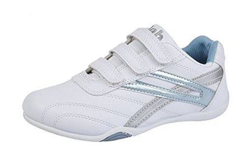 Ladies 'RAVEN' 3 touch Fastening Trainers UK White/Light Blue size 5 UK