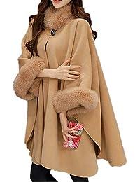 54b59d4047d6 ZEZKT Poncho et Cape Femme Châle Mode Manteau en Laine Blousons Collier de  Fourrure Gilets Longues Ourlet Outwear Élégant Long Cardigan…