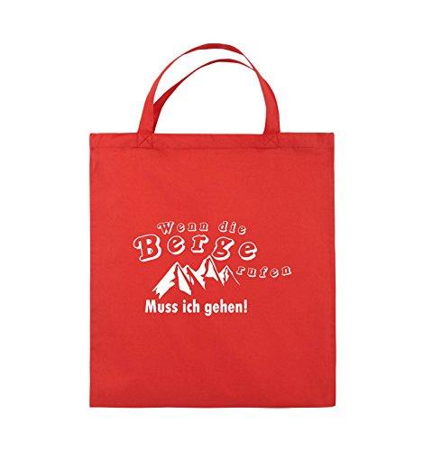 Comedy Bags - Wenn die Berge rufen - BERGE - Jutebeutel - kurze Henkel - 38x42cm - Farbe: Schwarz / Silber Rot / Weiss