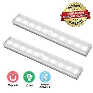 10 LED Unterbauleuchte Sensor Schrankbeleuchtung Licht 2 PACK zur Nachtlicht mit Bewegungsmelder Batterie Typ Stark…