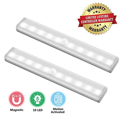 10 LED Unterbauleuchte Sensor Schrankbeleuchtung Licht 2 PACK zur Nachtlicht mit Bewegungsmelder Batterie Typ Stark-Bandmagnet Schranklicht Sichere Wandlicht für Garderoben Treppe Batterie-licht