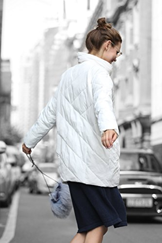 YOU.U Damen Wasser Resistent Warme Kurze Winterjacke Weiß