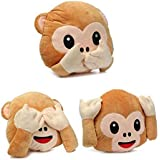 Frantic Soft Plush Decorative Monkey Pillow Cushion (33x33 cm) -Pack of 3