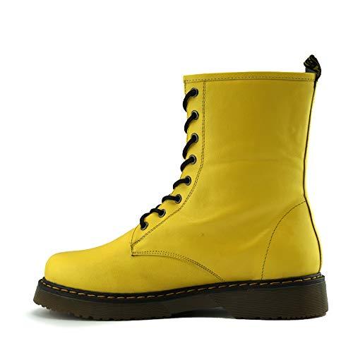 Kick Footwear Damen Knöchel Retro-Combat-Boot-Womens lace Funky Vintage Goth Ankle Boot - UK 4 / EU 37, Gelb