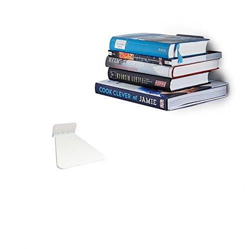 Ducomi mensola invisibile per libri - scaffale a scomparsa per arredare la vostra casa con stile ed eleganza (white)