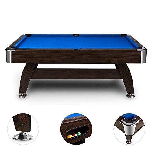 oneConcept Leeds • Billardtisch • Spieltisch • Pooltisch • MDF-Holz • Nussholzfurnier • blaue Bespannung • interner Ballrücklauf • 16 Kunststoffkugeln • 2 Queues • Kugeldreieck • Bürste • 2 x Kreideblock • höhenverstellbar • Eckenschutz • braun - 3