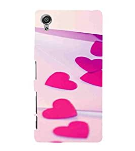 For Sony Xperia X :: Sony Xperia X Dual F5122 heart ( heart, pink heart, cream wallpaper ) Printed Designer Back Case Cover By TAKKLOO