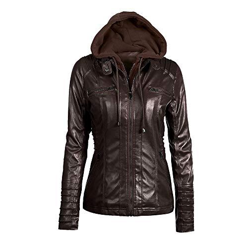 Mantel Damen Leder, Holeider Jacke Parka Reißverschluss Elegant Einfarbig Outwear Mit Kapuze,...