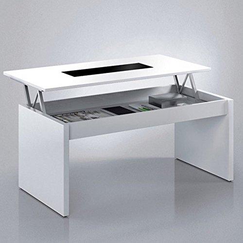 Habitdesign (0T1638BO) - Mesa de centro elevable , acabado blanco brillo y cristal negro , dimensiones 100 cm largo x 50 cm ancho x 43/52 cm altura