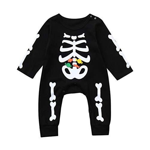 Jimmackey neonato halloween pagliaccetto, maniche lunghe osso caramella stampa tuta body, bambino da 6 a 24 mesi