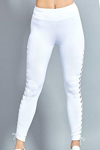 YACUN Femmes Les Chevilles Dentelle Jambières Maigres Collants Pantalon De Sport white