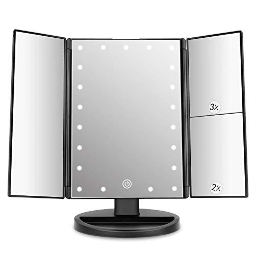 Espejo de Maquillaje con LED, Natural Iluminado Espejo de Mesa Ampliación 1X / 2X / 3X Plegable Espejo de la Vanidad Rotación 180° Pantalla Táctil Espejo Cosmético para Hombre y Mujer (Oro Rosa)