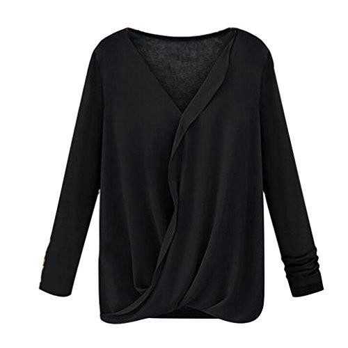 Eine Solide V-Ausschnitt Crossover Faux Wickeln Lange Ärmel Pullover Bluse Top Black