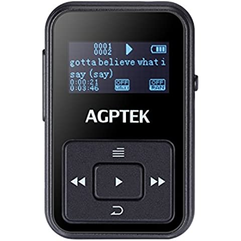 AGPtek A12 Mini clip Reproductor de MP3 8 GB pantalla OLED con radio FM, Nero