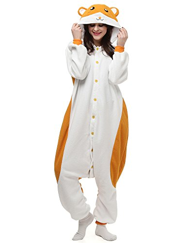 Tier Onesie Kostüme Kigurumi Hamster Pyjama Schlafanzug Erwachsene Unisex Mann Dame Cosplay Jumpsuit Onesie XL (Hamster Kostüm Für Erwachsene)