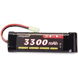FCONEGY 3300mah 8.4V Batterie NiMH pour Airsoft Gun Battery Battery avec Prise Mini Tamiya Plug