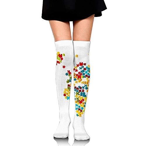 Gped Kniestrümpfe,Socken,Jigsaw Puzzle World Map Leisure Crew Top Socks,Tube Over Knee Nursing Compression Long Socks,3D Printed Sports for Girls&Women 50 - Jigsaw Girl Kostüm