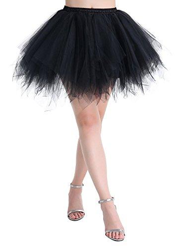 Karneval Damen 80er Übergröße Schwarz Puffy Tüllrock Tütü Röcke Tüll Petticoat(MEHRWEG) (Schwarz Tutu Röcke)
