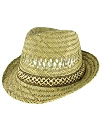 VIZ-UK WEAR 100% STRAW UNISEX SUMMER TRILBY HAT (58cm) 06b4b5471ef7