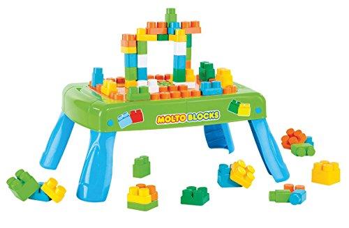 Molto 14480 - Mesa con bloques, 20 piezas, color azul y verde