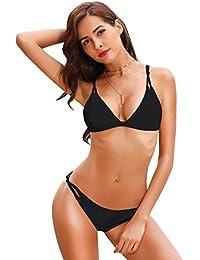 SHEKINI Damen Brazilian Push Up Bikini Set Mit Bikini Neckholder Triangle Oberteil Und Sexy Brasil Bikini Bikinihose Bottom Geteilter Zweiteiliger Badeanzug