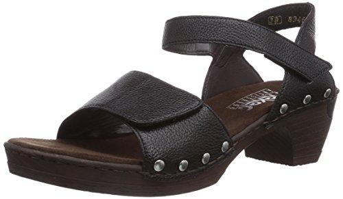 Rieker Damen 66863 Offene Sandalen mit Keilabsatz, (schwarz / 01), 37 EU