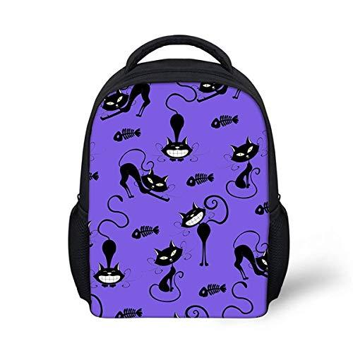 OOGUOSHENG Nette Karikatur Katze Kitty Kätzchen Druck Schultaschen Für Kinder Casual Kindergarten Studenten Schultaschen Mädchen Mini Rucksäcke -9 (Mini-rucksack Kitty)