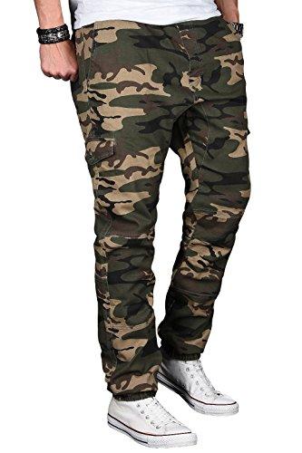 A. Salvarini Herren Stretch Cargohose Cargo Jogg Jeans Hose mit Elasthananteil Jogging Sweathose Slim AS031 Woodland