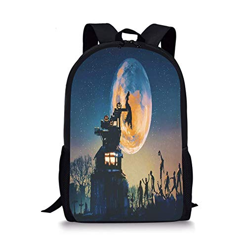 World,Dead Queen in Castle Zombies in Cemetery Love Affair Bridal Halloween Theme,Blue Yellow for Boys&Girls Mens Sport Daypack ()