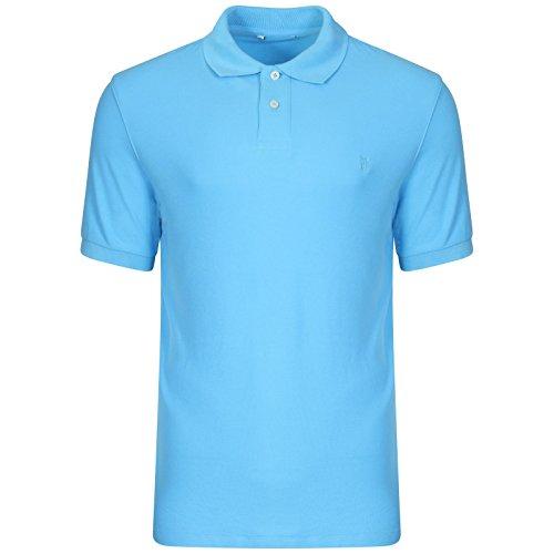 Famous Store Herren Poloshirt, Einfarbig Aqua Blue