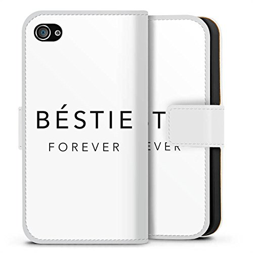 Apple iPhone X Silikon Hülle Case Schutzhülle Sprüche Freundschaft Luxus Bestie Sideflip Tasche weiß
