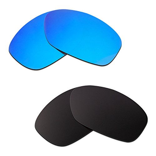 HKUCO Mens Replacement Lenses For Oakley Pit Bull Sunglasses Blue/Black Polarized