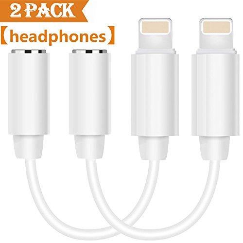 Produktbild thytob Lightning Jack Audio Adapter für iPhone X 8/8Plus iPhone 7/7Plus/6/6Plus iPod/iPad Kopfhörer Zubehör. Lightning 3,5mm AUX Kopfhörer Kabel Klinke Adapter. Unterstützt IOS 10,3/11oder später (schwarz) weiß iOS 10.2 to 3.5mm Adapter-White