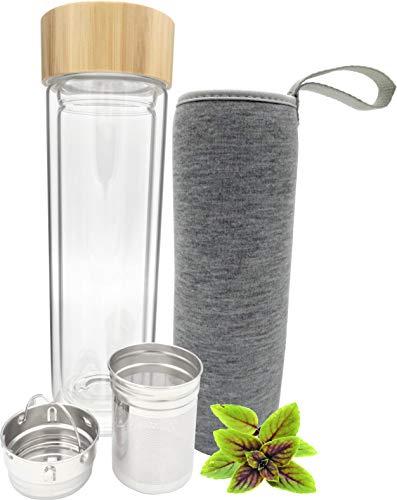 GLASHORN Thermoflasche mit Multi Sieb 500ml doppelwandig isoliert...